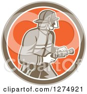 Clipart Of A Retro Fireman Holding A Hose In A Brown White And Orange Circle Royalty Free Vector Illustration