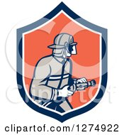 Clipart Of A Retro Fireman Holding A Hose In A Blue White And Orange Shield Royalty Free Vector Illustration