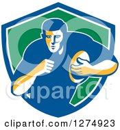 Clipart Of A Retro Male Rugby Player Running In A Blue White And Green Shield Royalty Free Vector Illustration