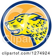 Clipart Of A Jaguar Cat In A Blue White And Orange Circle Royalty Free Vector Illustration