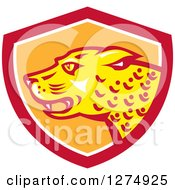 Clipart Of A Jaguar Cat In A Red White And Orange Shield Royalty Free Vector Illustration