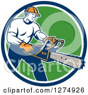 Clipart Of A Retro Male Arborist Using A Chainsaw In A Blue White And Green Circle Royalty Free Vector Illustration