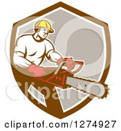 Clipart Of A Retro Male Arborist Using A Chainsaw In A Brown White And Taupe Shield Royalty Free Vector Illustration by patrimonio
