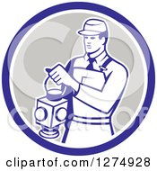 Clipart Of A Retro Train Signaler Worker Man Holding A Lamp In A Blue White And Taupe Circle Royalty Free Vector Illustration