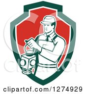 Clipart Of A Retro Train Signaler Worker Man Holding A Lamp In A Green White And Red Shield Royalty Free Vector Illustration by patrimonio