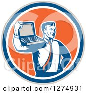 Clipart Of A Retro Computer Repair Or Business Man With A Laptop On His Shoulder In A Taupe Blue White And Orange Circle Royalty Free Vector Illustration
