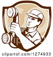 Retro Telephone Repair Man Holding Out A Red Receiver In A Brown And White Shield