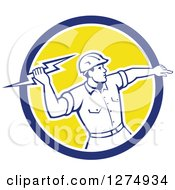 Clipart Of A Retro Male Electrician Throwing A Lightning Bolt In A Blue White And Yellow Circle Royalty Free Vector Illustration