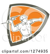 Clipart Of A Retro Male Electrician Throwing A Lightning Bolt In A Brown White And Orange Shield Royalty Free Vector Illustration