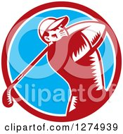 Clipart Of A Retro Woodcut Male Golfer Swinging In A Red White And Blue Circle Royalty Free Vector Illustration