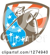 Clipart Of A Retro Woodcut Male Golfer Swinging In An American Flag Shield Royalty Free Vector Illustration