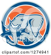 Clipart Of A Retro Jumping Elephant In A Gray Blue White And Orange Circle Royalty Free Vector Illustration