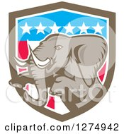 Clipart Of A Retro Jumping Elephant In An American Flag Shield Royalty Free Vector Illustration
