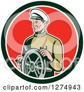 Clipart Of A Retro Male Sea Captain At The Wheel In A Black White And Red Circle Royalty Free Vector Illustration by patrimonio