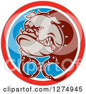 Clipart Of A Guard Bulldog With Handcuffs In A Red White And Blue Circle Royalty Free Vector Illustration