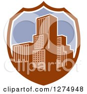 Clipart Of A Retro City In A Brown White And Purple Shield Royalty Free Vector Illustration