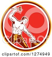 Clipart Of A Retro Woodcut Blacksmith Hammering In A Yellow Brown White And Red Circle Royalty Free Vector Illustration