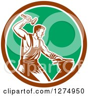 Retro Woodcut Blacksmith Hammering In A Brown White And Green Circle