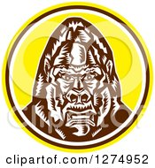 Clipart Of A Retro Woodcut Angry Gorilla Head In A Yellow Brown And White Circle Royalty Free Vector Illustration