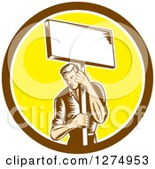 Clipart Of A Retro Woodcut Male Worker Holding A Placard Sign Post In A Brown White And Yellow Circle Royalty Free Vector Illustration