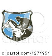 Clipart Of A Retro Woodcut Racing Jockey In A Gray Brown White And Blue Shield Royalty Free Vector Illustration