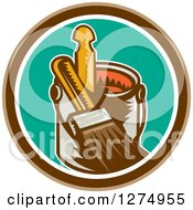 Clipart Of A Retro Woodcut Paintbrush And Can In A Brown White And Turquoise Circle Royalty Free Vector Illustration