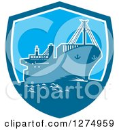 Clipart Of A Retro Blue Cargo Ship In A Shield Royalty Free Vector Illustration by patrimonio