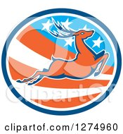 Clipart Of A Retro Leaping Deer In A Blue White And American Flag Oval Royalty Free Vector Illustration by patrimonio