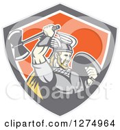 Clipart Of A Retro Blond Male Viking Warrior Swinging An Axe In A Gray Taupe White And Orange Shield Royalty Free Vector Illustration