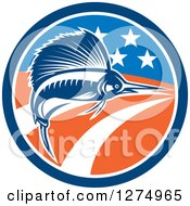 Clipart Of A Retro Swimming Marlin Fish In An American Flag Circle Royalty Free Vector Illustration by patrimonio