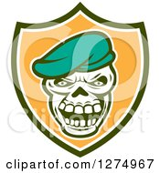 Clipart Of A Retro Skull Wearing A Beret Hat In A Green White And Orange Shield Royalty Free Vector Illustration