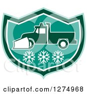 Clipart Of A Retro Snow Plow Truck Over Snowflakes In A Tuquoise Green And White Shield Royalty Free Vector Illustration by patrimonio