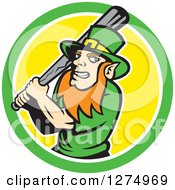 Clipart Of A Leprechaun Baseball Player Holding A Bat In A Green White And Yellow Circle Royalty Free Vector Illustration by patrimonio