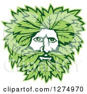 Clipart Of A Green Man Face With Leaves Royalty Free Vector Illustration by patrimonio
