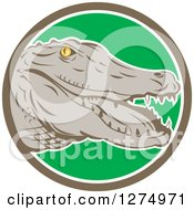 Clipart Of A Retro Alligator Head In A Taupe White And Green Circle Royalty Free Vector Illustration by patrimonio