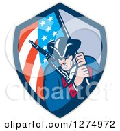 Clipart Of A Retro Revolutionary Soldier Minute Man With An American Flag In A Shield Royalty Free Vector Illustration by patrimonio