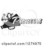 Clipart Of A Grayscale Pioneers Team Cheerleader Megaphone And Pom Pom Design Royalty Free Vector Illustration