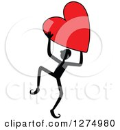 Clipart Of A Black Stick Man Holding Up A Red Heart Royalty Free Vector Illustration