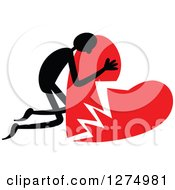 Clipart Of A Black Stick Man Hugging A Broken Red Heart Royalty Free Vector Illustration by Prawny