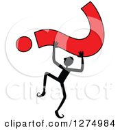 Clipart Of A Black Stick Man Holding Up A Red Question Mark Royalty Free Vector Illustration