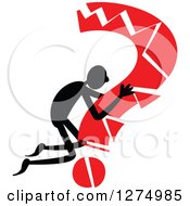 Clipart Of A Black Stick Man Hugging A Broken Red Question Mark Royalty Free Vector Illustration