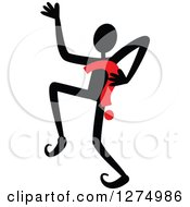 Clipart Of A Black Stick Man Dancing With A Red Question Mark Royalty Free Vector Illustration