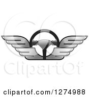 Clipart Of A Race Car Steering Wheel With Silver Wings Royalty Free Vector Illustration by Lal Perera