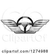 Race Car Steering Wheel With Silver Wings