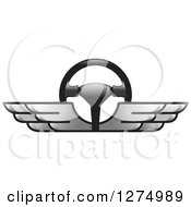 Clipart Of A Race Car Steering Wheel With Silver Wings 2 Royalty Free Vector Illustration