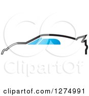 Clipart Of A Profiled Sports Car With Blue Windows Royalty Free Vector Illustration