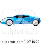 Clipart Of A Blue Sports Car With Window Tint Royalty Free Vector Illustration