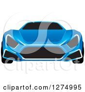 Clipart Of A Blue Sports Car With Window Tint 2 Royalty Free Vector Illustration