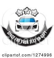 Clipart Of A White Sports Car With Stars And A Banner With Sample Text Royalty Free Vector Illustration