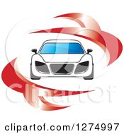 Clipart Of A White Sports Car With Red Swooshes Royalty Free Vector Illustration